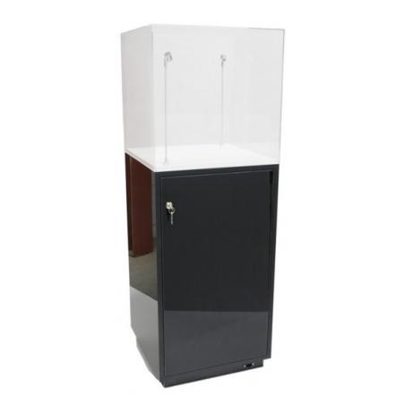 Peana armario negro brillo 30 x 30 x 100 cm