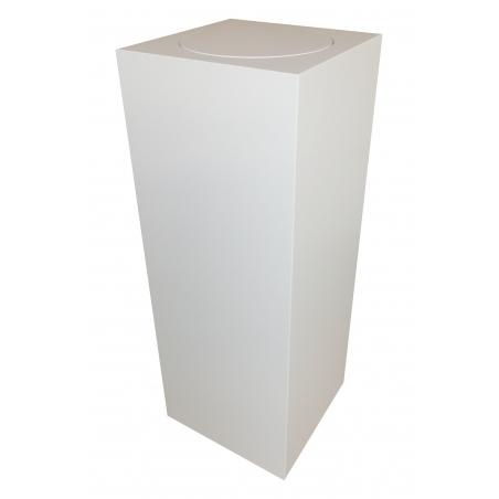 Peana blanca con plato giratorio redondo 30 x 30 x 100 cm